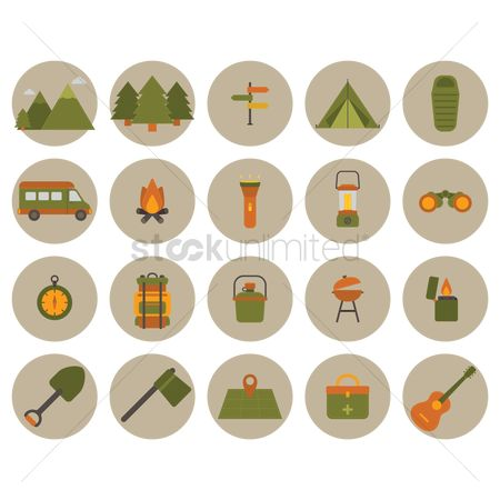 Lighter : Collection of camping icons