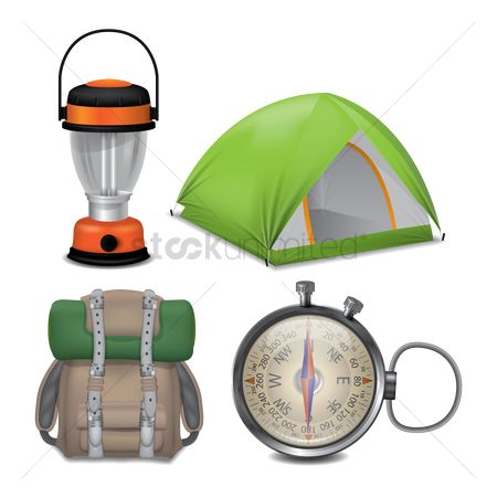 Tents : Collection of camping items