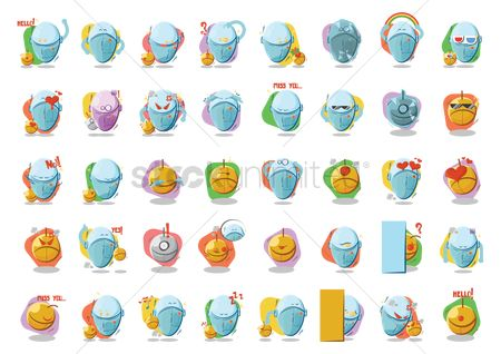 Gifts : Collection of cartoon robot facial expressions