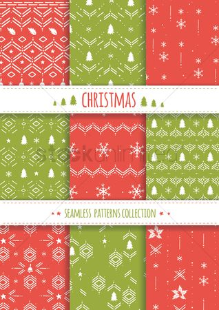 Wallpaper : Collection of christmas seamless patterns