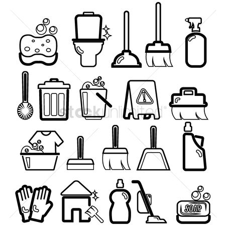 Broom : Collection of cleaning icons