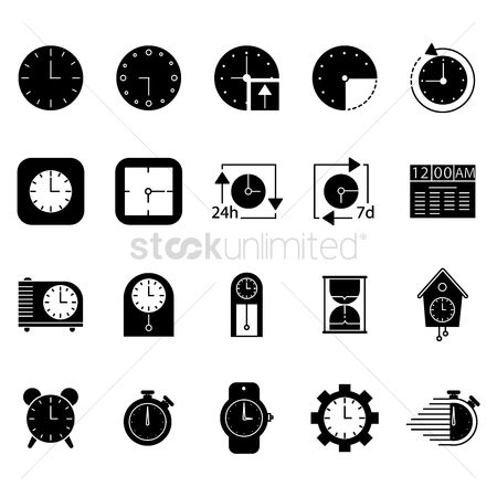 Wristwatch : Collection of clock icons