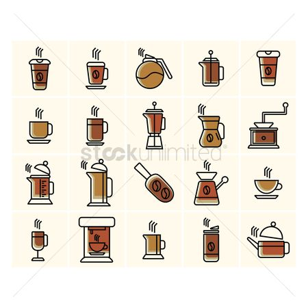 Appliances : Collection of coffee related icons