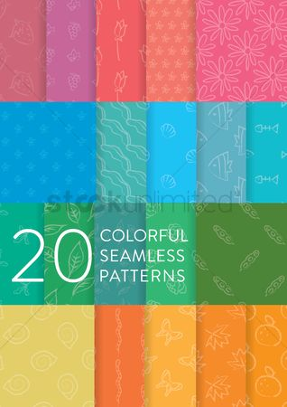 Fruit : Collection of colorful seamless patterns