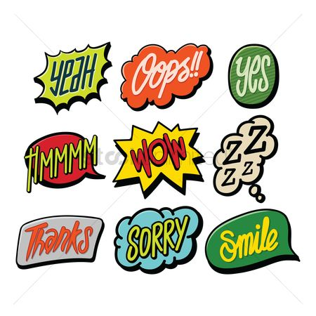 Communication : Collection of comic speech bubbles