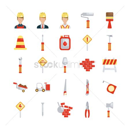Roller brush : Collection of construction icons
