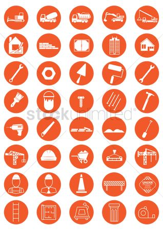 Hand truck : Collection of construction icons
