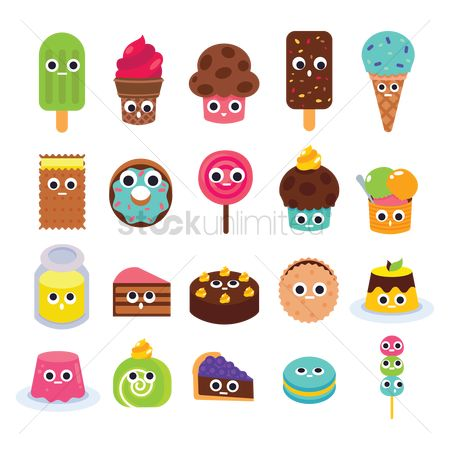 Biscuit : Collection of cute food icons