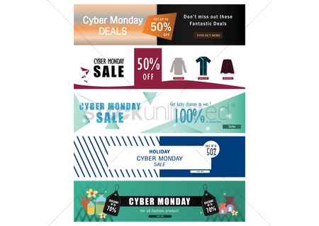 E commerces : Collection of cyber monday sale banners
