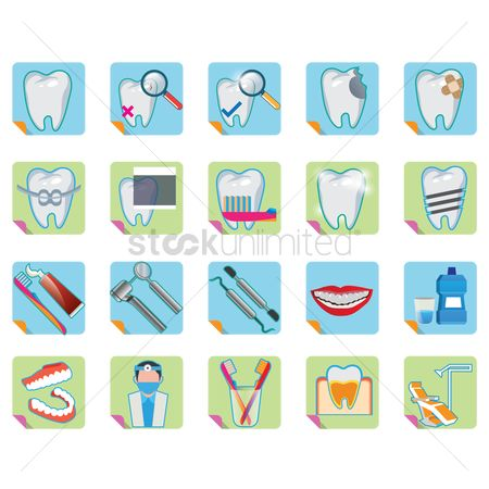 Tooth with braces : Collection of dental icons
