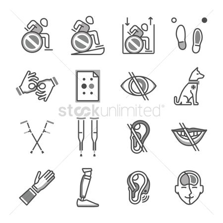 Language : Collection of disabled icons