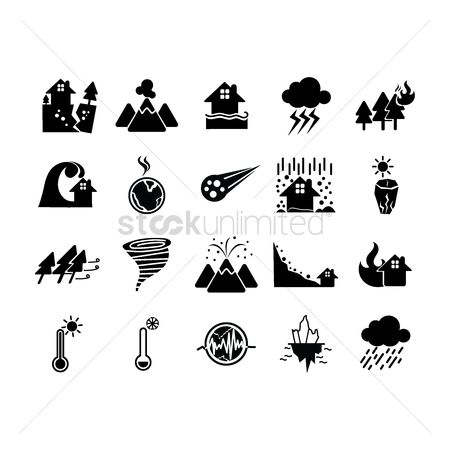 Temperatures : Collection of disaster icons