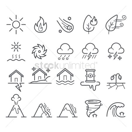 Falling : Collection of disaster icons