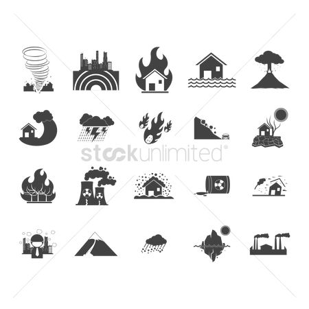 Pollution : Collection of disaster icons