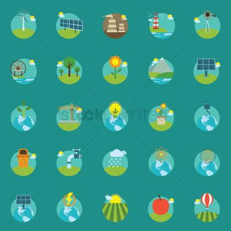Lighthouses : Collection of eco icons