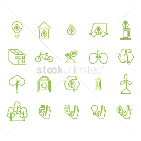 Save trees : Collection of eco icons