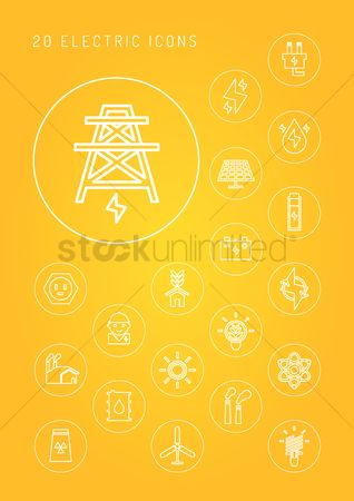Nuclear : Collection of electricity icons