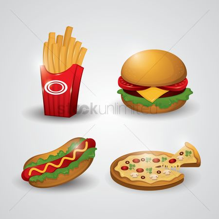 French fries : Collection of fast food icons