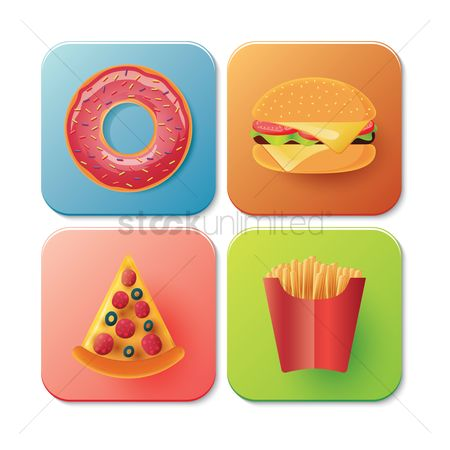 Junk food : Collection of fast food icons