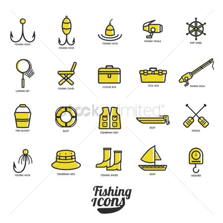 Activities : Collection of fishing icons