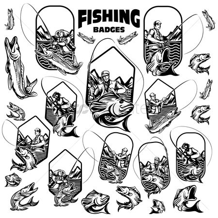 Recreation : Collection of fishing tours badges