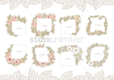 Greetings : Collection of floral frames
