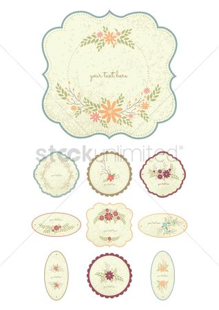 Copy space : Collection of floral labels