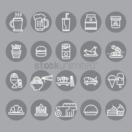 French fries : Collection of food and drink icons