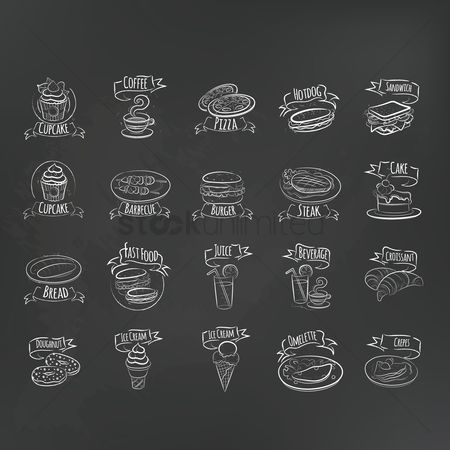 Cream : Collection of food menu icons