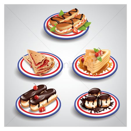 French : Collection of french food icons