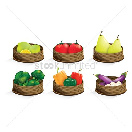 Fresh : Collection of fruit in baskets