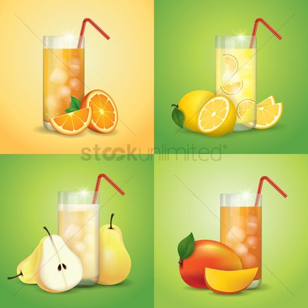 Beverage : Collection of fruit juices and slices
