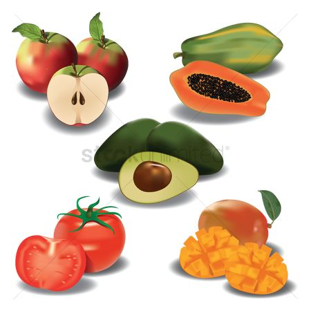 Fruit : Collection of fruit with slices