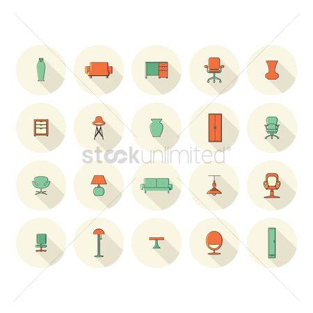Lighting : Collection of furniture and vase