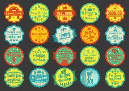 Kids : Collection of greeting labels