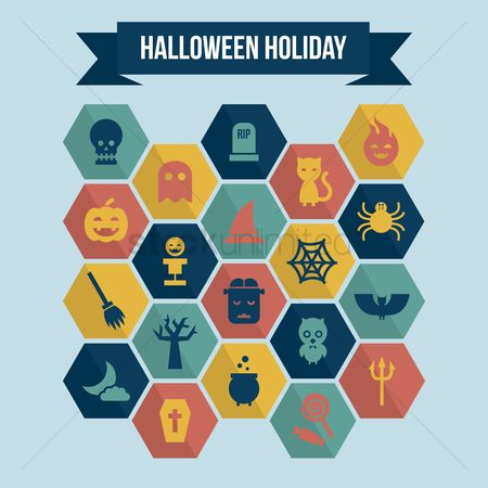 Broom : Collection of halloween holiday icons
