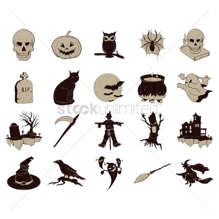 Broom : Collection of halloween icons