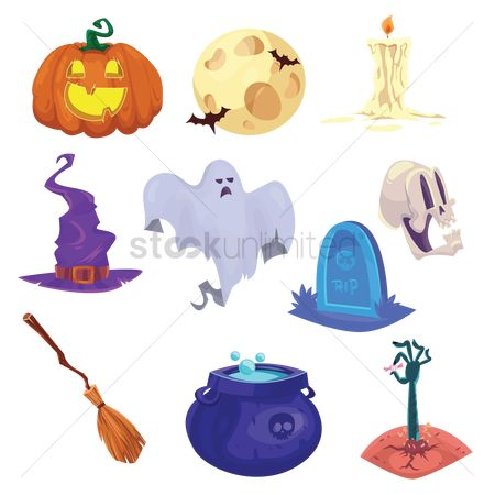 Moon : Collection of halloween items