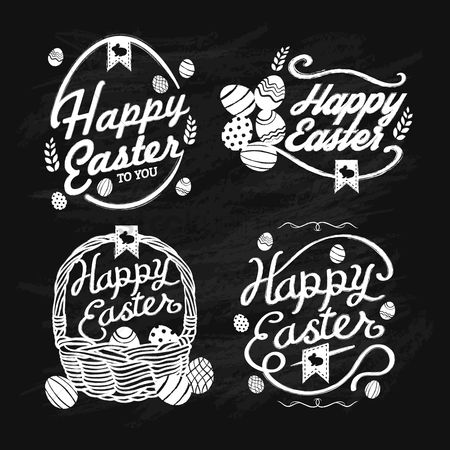 Blackboard : Collection of happy easter cards