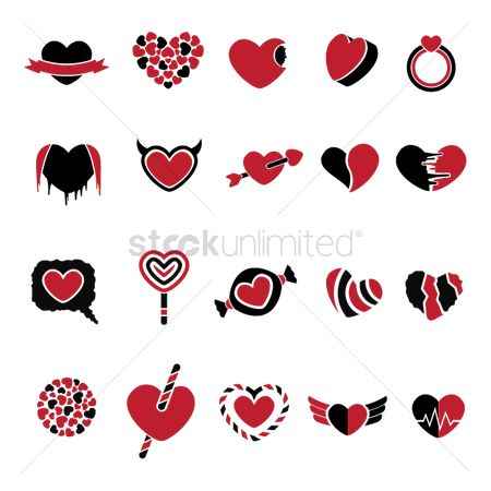 Love speech bubble : Collection of heart icons