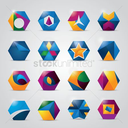 Red : Collection of hexagonal logo element design