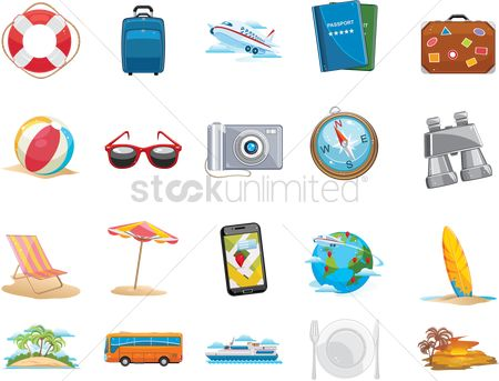 Aeroplanes : Collection of holiday icons