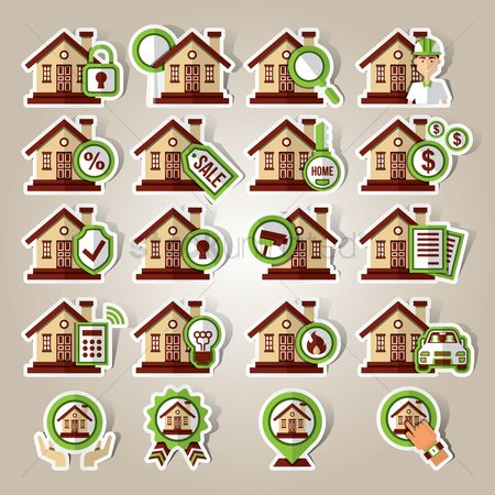 Real estate : Collection of home icons