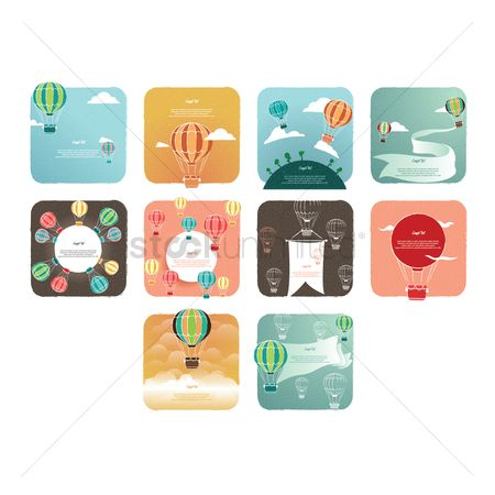 Copy space : Collection of hot air balloon background