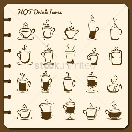 Coffee cups : Collection of hot drink icons