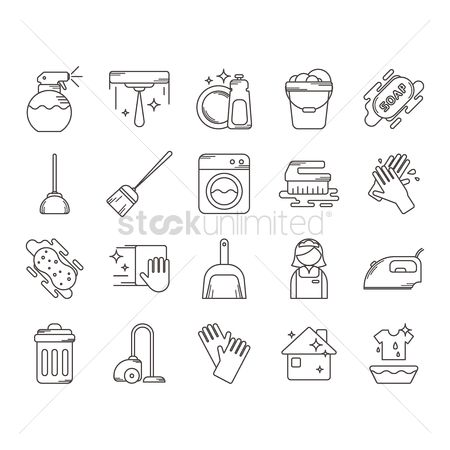 Washing machine : Collection of household cleaning icons