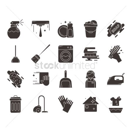 Broom : Collection of household cleaning icons