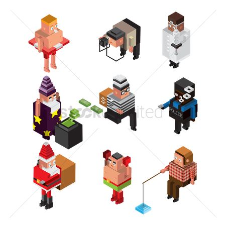 Photographers : Collection of isometric people