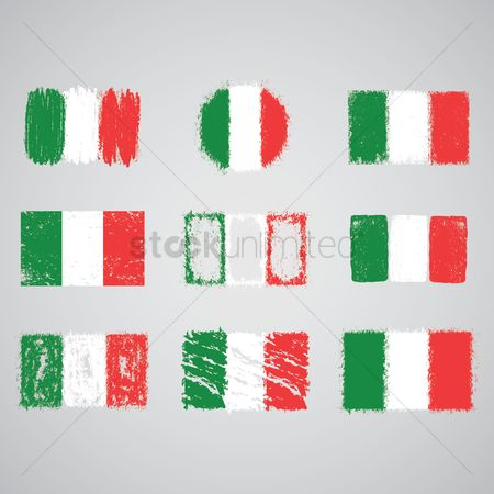 Crayons : Collection of italian flags