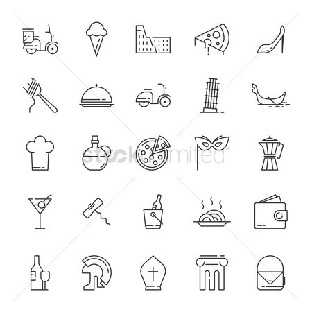 Pizza delivery : Collection of italy icons